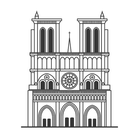 Notre Dame de Paris Cathedral. Line Art Style. Vector