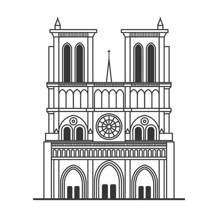 Notre Dame de Paris Cathedral. Line Art Style. Vector