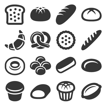 Bakery and Pastry. Bread Icons Set. Vector