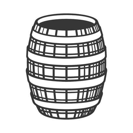 Wine Wooden Barrel Icon on White Background. Vector illustration Ilustração Vetorial