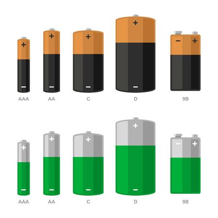 Battery Icons Set on White Background. Vector illustration