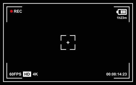 Record Video Camera Viewfinder Template with Black Background. Vector