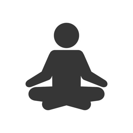 Yoga Fitness Icon. Meditation Sign on White Background. Vector