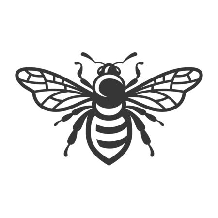 Bee Icon. Bug on White Background. Vector