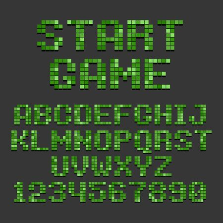 Pixel Retro Style Video Game Font. Vector