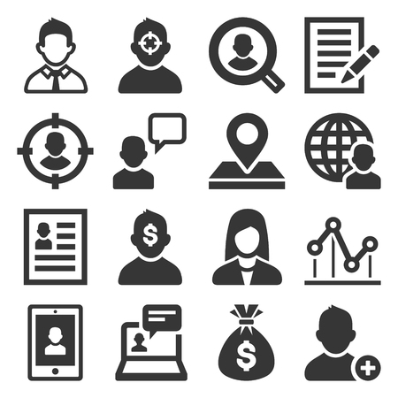 Headhunting Related Icons Set on White Background. Vector