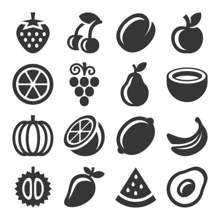 Fruits Icons Set on White Background. Vector