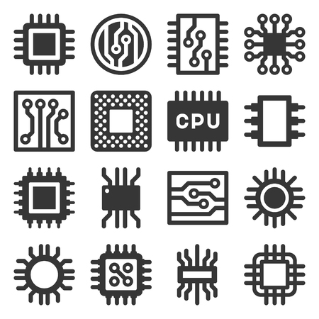 Electronic Computer Chips CPU Icons Set. Vector