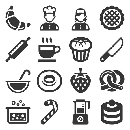 Bakery and Pastries Cooking Icons Set on White Background. Vector