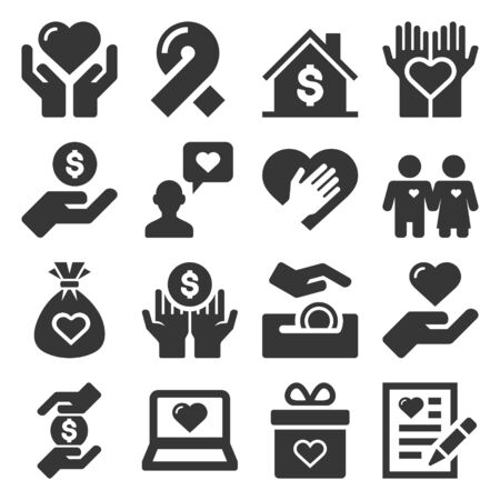 Charity and Donation Icons Set on White Background. Vector Illusztráció