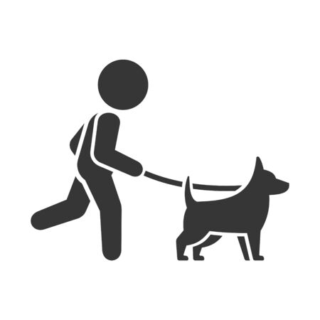 Man Walking Dog Icon on White Background. Vector