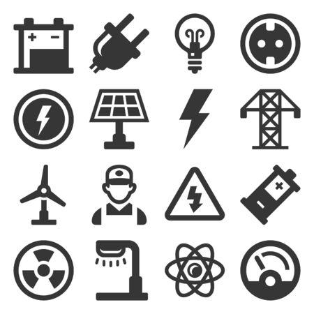 Ensemble d'icônes de l'électricité de l'énergie sur fond blanc. Vecteur Vecteurs