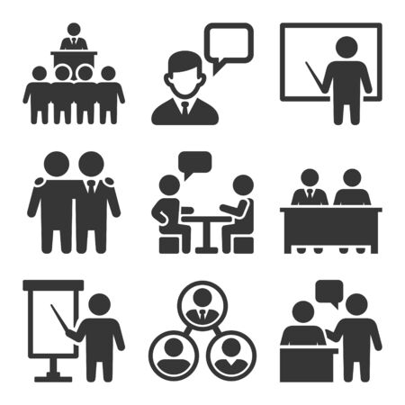 Business Conference and Meeting Icons Set. Vector