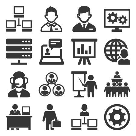 Ensemble d'icônes administrateur système et opérateur. Vecteur