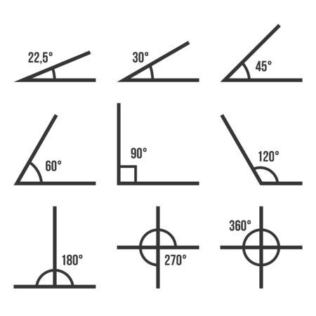Conjunto de iconos de ángulos sobre fondo blanco. Vector Ilustración de vector