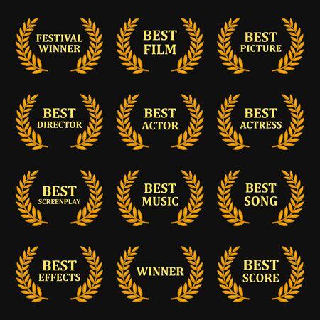 Film Awards Gold Labels Set auf schwarzem Hintergrund. Vektor