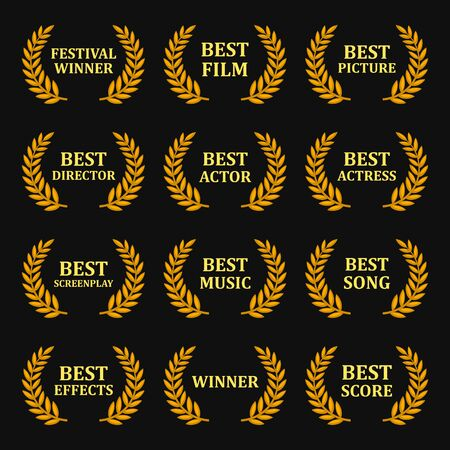 Film Awards Gold Labels Set on Black Background. Vector
