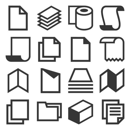 Paper Icons Set on White Background. Vector