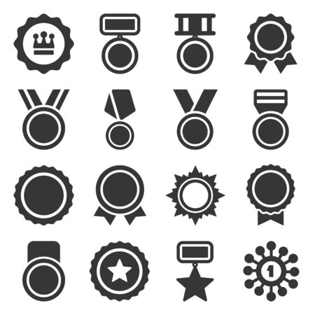 Medal, Trophy and Awards Icons Set. Vector