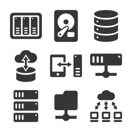 Partage de fichiers en réseau et ensemble d'icônes de serveur NAS. Vecteur