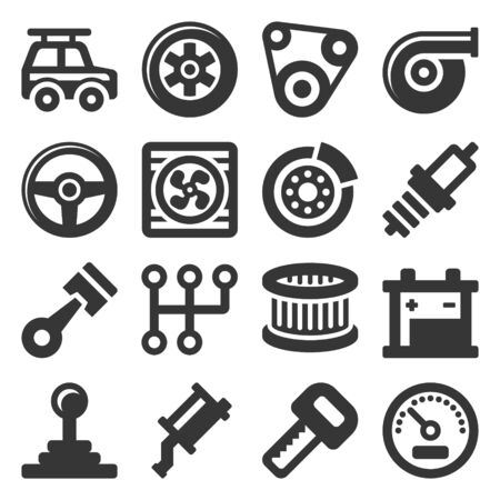 Automotive Car Service Icons Set on White Background.