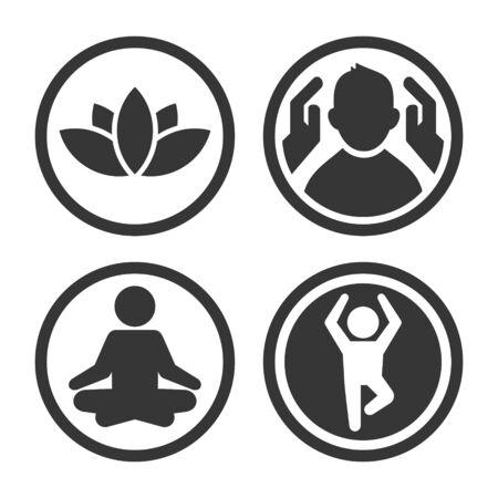 Massage, Spa and Yoga Center Icons Set. Logo on White Background.