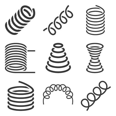 Spiral Flexible Spring Icons Set on White Background. Vector
