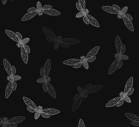 Cicada Insects Seamless Pattern with Black Background. Vector