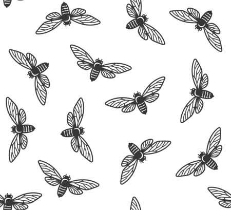 Cicada Insects Seamless Pattern with White Background. Vector Banque d'images - 130121562