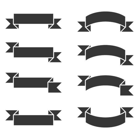 Ribbons Banner Set on White Background. Vector