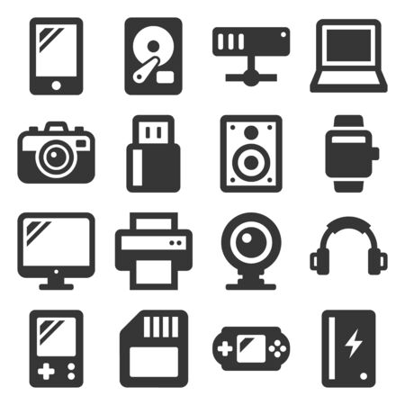 Devices and Gadgets Icons Set on White Background. Vector