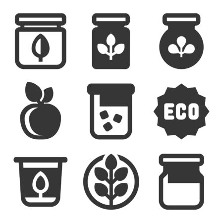 Organic Farm Food Icons Set on White Background. Vector