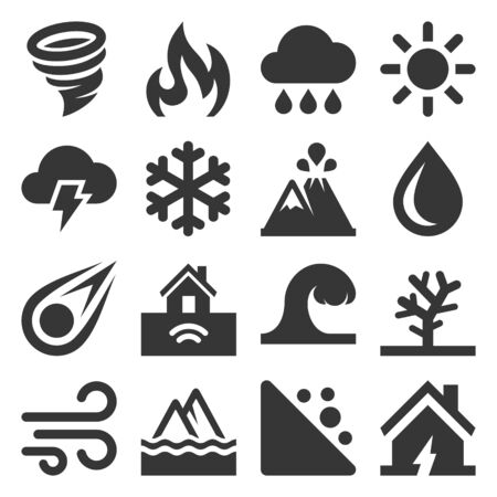 Natural Disaster Icons Set on White Background. Vector Stock fotó - 130121738