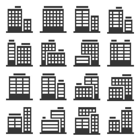 Office Building Icons Set on White Background. Vector 写真素材 - 130121739