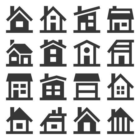 House Icons Set on White Background. Vector Ilustração