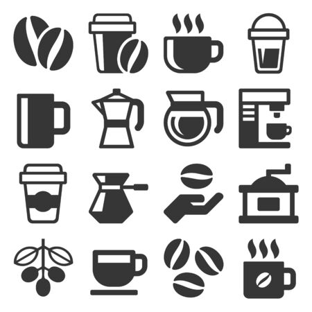 Coffee Icons Set on White Background. Vector