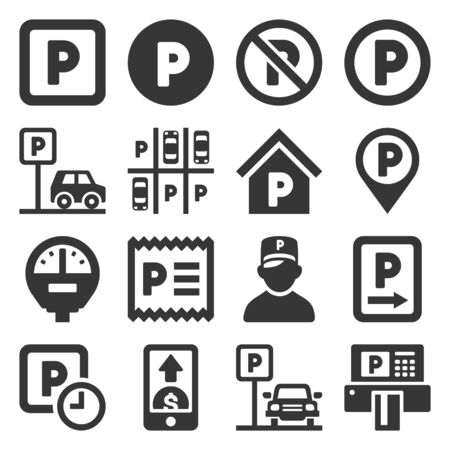 Car Parking Icons Set on White background. Vector