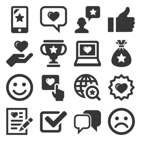 Customer Reviews and Feedback Icon Set. Vector