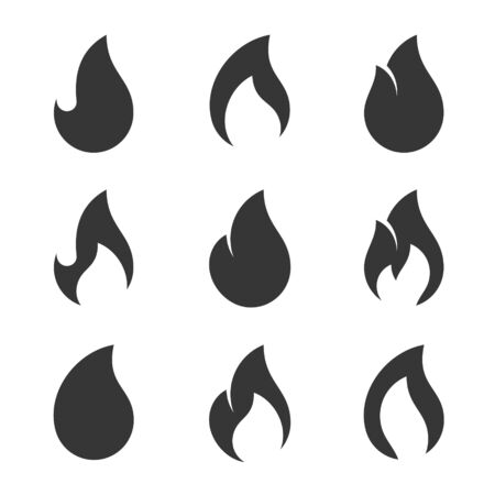 Fire Flames Icons Set on White Background. Vector