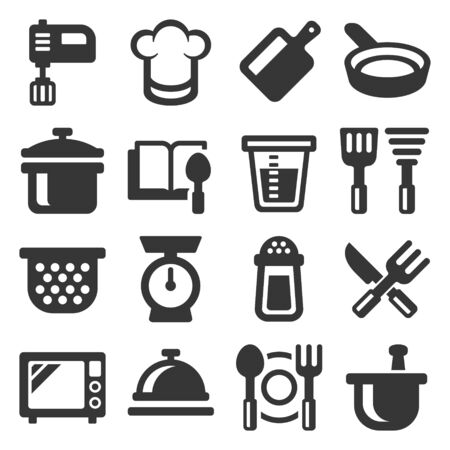 Kitchen and Cooking Icons Set on White Background. Vector