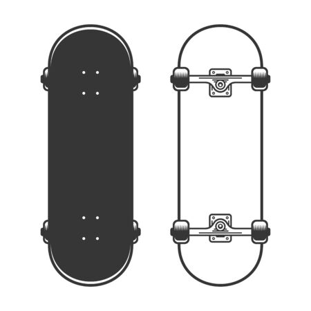 Old Skateboards Set on White Background. Vector