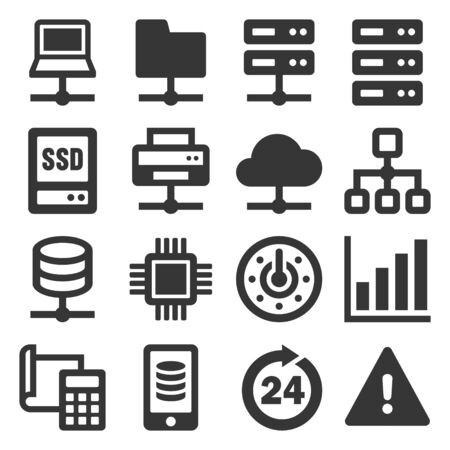Network and Hosting Icons Set on White Background. Vector