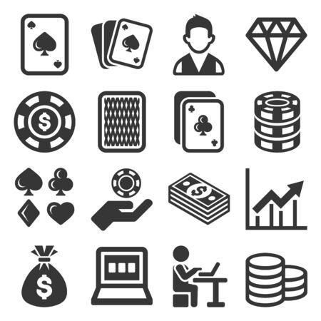 Poker Casino Gambling Icons Set on White Background. Vector Çizim