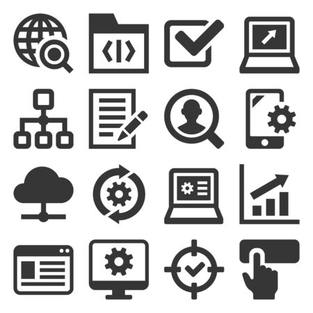 SEO and Internet Icons Set on White Background. Vector
