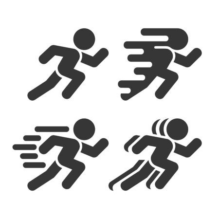 Running and Walking Icons Set on White Background. Vector Illusztráció