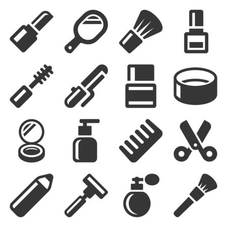Beauty and Cosmetic Icons Set on White Background. Vector Çizim