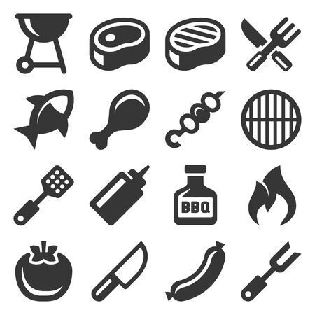 Barbecue and Grill Icons Set on White Background. Vector