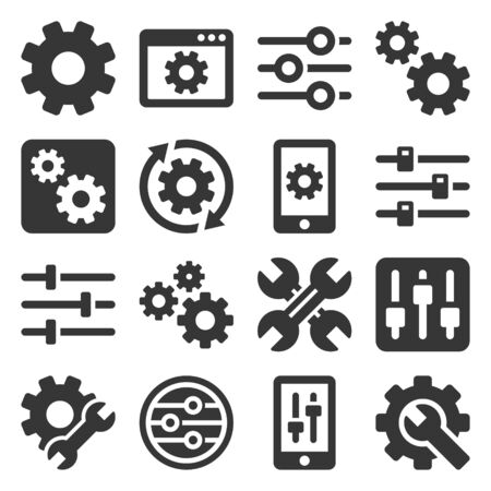 Settings, Options, Configuration or Preferences Icons Set. Vector Иллюстрация