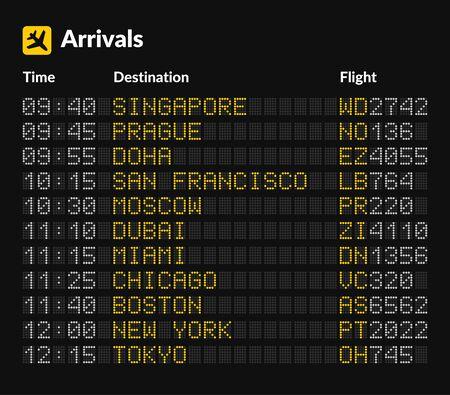 Tableau d'aéroport LED modèle isolé sur fond sombre. Vecteur