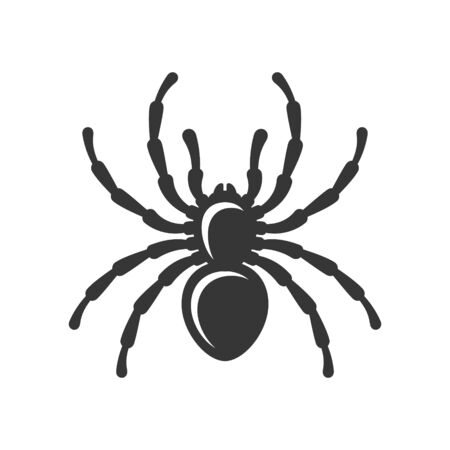 Black Spider Silhouette Icon on White Background. Vector Illustration